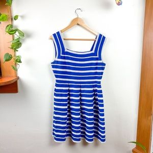 Max Studio Sleeveless Blue White Stripped Dress L